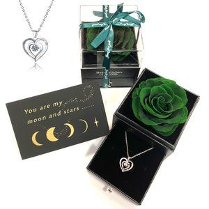 Forest Green REAL ROSE With Heart Silver Necklace